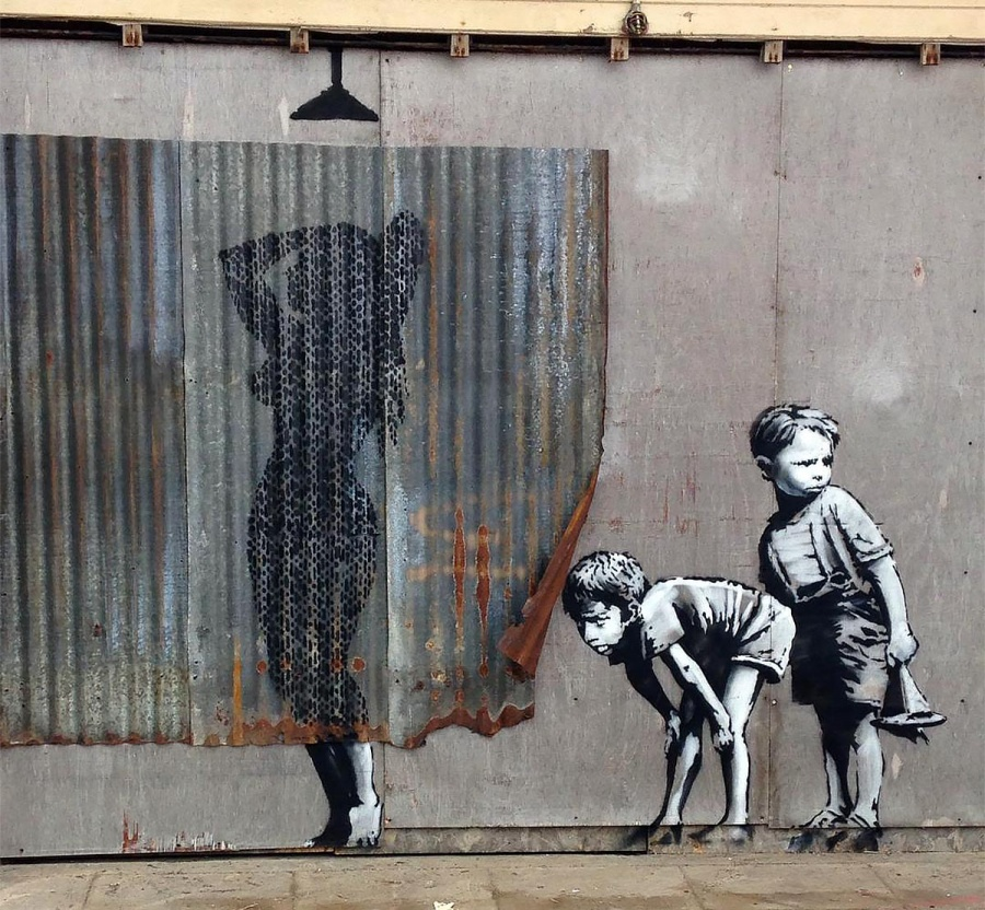 Veston na Meru, Velika Britanija, autor: Banksy (streetartnews.net)